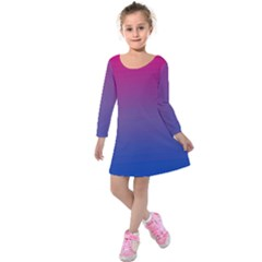 Bi Colors Kids  Long Sleeve Velvet Dress