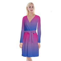 Bi Colors Long Sleeve Velvet Front Wrap Dress