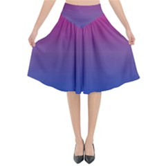 Bi Colors Flared Midi Skirt