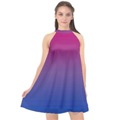 Bi Colors Halter Neckline Chiffon Dress