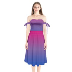 Bi Colors Shoulder Tie Bardot Midi Dress