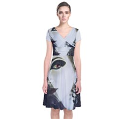 Goth Bride Short Sleeve Front Wrap Dress