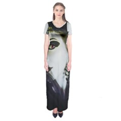Goth Bride Short Sleeve Maxi Dress