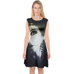 Goth Bride Capsleeve Midi Dress