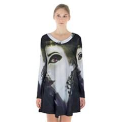 Goth Bride Long Sleeve Velvet V-neck Dress
