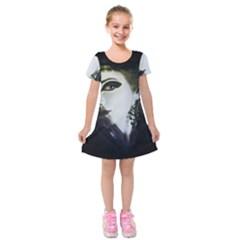 Goth Bride Kids  Short Sleeve Velvet Dress