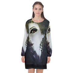Goth Bride Long Sleeve Chiffon Shift Dress