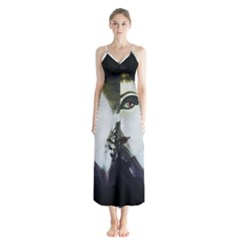Goth Bride Button Up Chiffon Maxi Dress