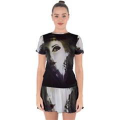 Goth Bride Drop Hem Mini Chiffon Dress