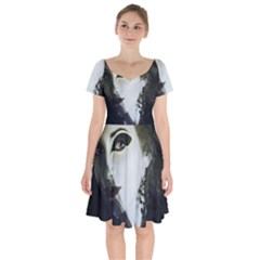 Goth Bride Short Sleeve Bardot Dress