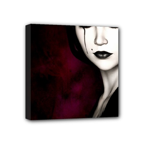 Goth Girl Red Eyes Mini Canvas 4  x 4