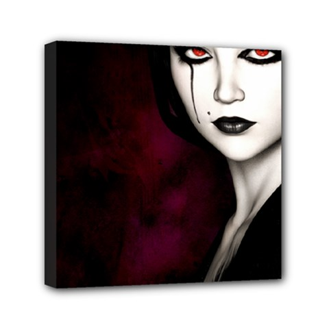 Goth Girl Red Eyes Mini Canvas 6  x 6
