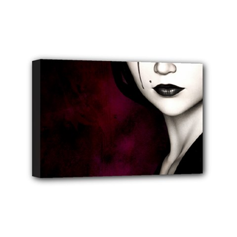 Goth Girl Red Eyes Mini Canvas 6  x 4
