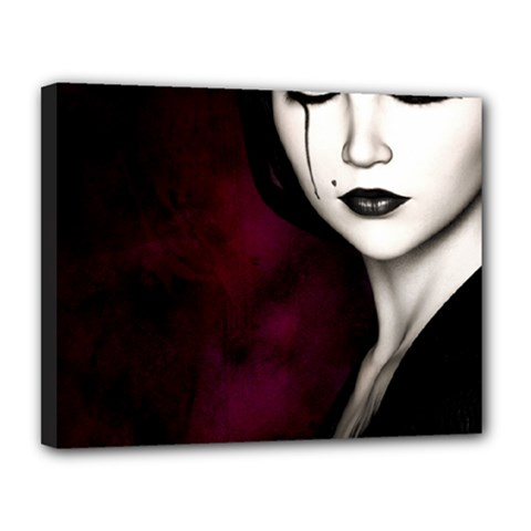 Goth Girl Red Eyes Canvas 14  x 11