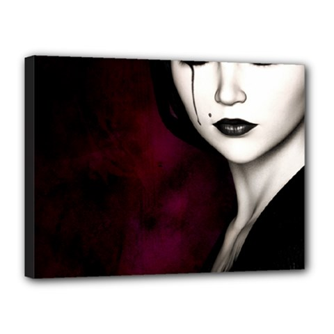 Goth Girl Red Eyes Canvas 16  x 12