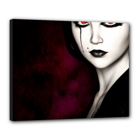Goth Girl Red Eyes Canvas 20  x 16