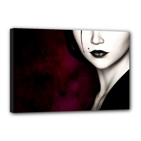Goth Girl Red Eyes Canvas 18  x 12