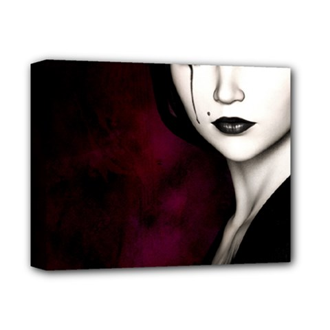 Goth Girl Red Eyes Deluxe Canvas 14  x 11