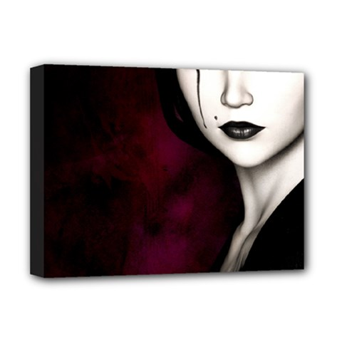 Goth Girl Red Eyes Deluxe Canvas 16  x 12