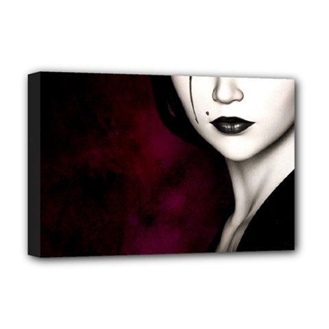 Goth Girl Red Eyes Deluxe Canvas 18  x 12