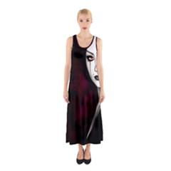 Goth Girl Red Eyes Sleeveless Maxi Dress