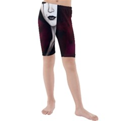 Goth Girl Red Eyes Kids  Mid Length Swim Shorts
