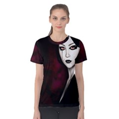 Goth Girl Red Eyes Women s Cotton Tee
