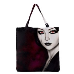 Goth Girl Red Eyes Grocery Tote Bag
