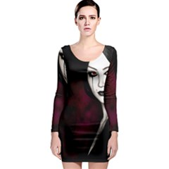 Goth Girl Red Eyes Long Sleeve Bodycon Dress