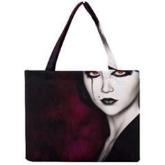 Goth Girl Red Eyes Mini Tote Bag