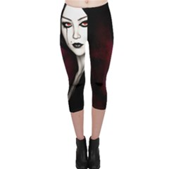 Goth Girl Red Eyes Capri Leggings