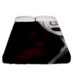 Goth Girl Red Eyes Fitted Sheet (King Size)