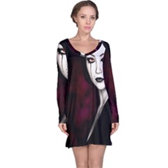 Goth Girl Red Eyes Long Sleeve Nightdress
