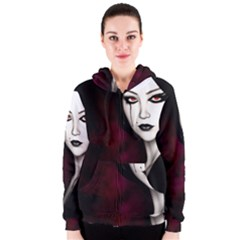 Goth Girl Red Eyes Women s Zipper Hoodie