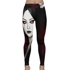 Goth Girl Red Eyes Classic Yoga Leggings