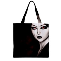 Goth Girl Red Eyes Zipper Grocery Tote Bag