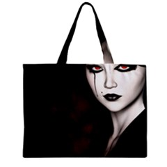 Goth Girl Red Eyes Zipper Mini Tote Bag