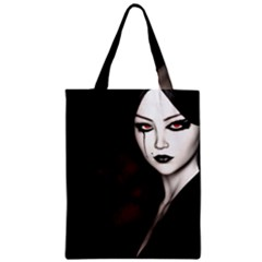 Goth Girl Red Eyes Zipper Classic Tote Bag