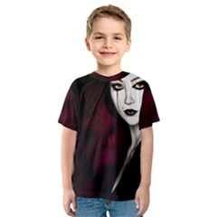 Goth Girl Red Eyes Kids  Sport Mesh Tee