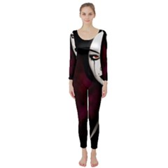 Goth Girl Red Eyes Long Sleeve Catsuit