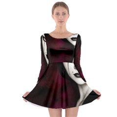 Goth Girl Red Eyes Long Sleeve Skater Dress
