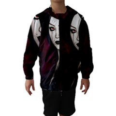 Goth Girl Red Eyes Hooded Wind Breaker (Kids)