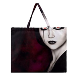 Goth Girl Red Eyes Zipper Large Tote Bag
