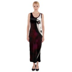 Goth Girl Red Eyes Fitted Maxi Dress