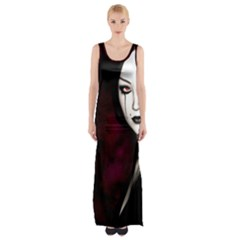 Goth Girl Red Eyes Maxi Thigh Split Dress