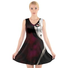 Goth Girl Red Eyes V-Neck Sleeveless Skater Dress