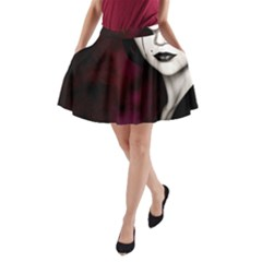 Goth Girl Red Eyes A-Line Pocket Skirt