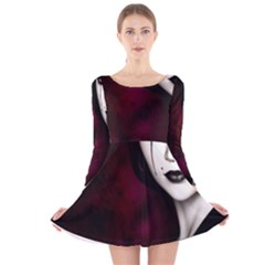Goth Girl Red Eyes Long Sleeve Velvet Skater Dress