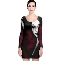 Goth Girl Red Eyes Long Sleeve Velvet Bodycon Dress