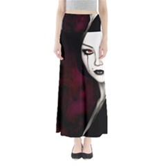 Goth Girl Red Eyes Full Length Maxi Skirt